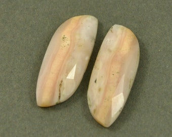 Natural Pink Opal Cabochon Matched Pair - 24x9mm - Rose Cut Pink Opal #s209