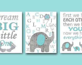 Nursery Quotes Dream Big Little One Baby Nursery Decor First We Had Each Other Then We Had You Baby Boy Nursery Print Kids Art set of 3