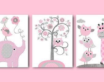 Pink Gray Baby Shower Gift Elephant Giraffe Nursery Decor Baby Girl Nursery Art Print Kids Art Kids Room Decor Playroom Decor set of 3 11X14