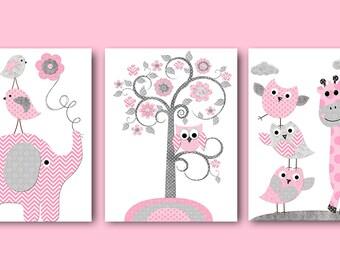 Pink Gray Baby Shower Gift Elephant Giraffe Nursery Decor Baby Girl Nursery Art Print Kids Art Kids Room Decor Playroom Decor set of 3 /