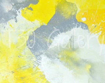 Digital Download - Make A Mess, Grey and Yellow Abstract Artwork