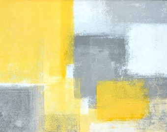 Steady, 2015 - Original Acrylic Artwork Modern Contemporary Abstract Painting Wall Decor Free Shipping Grey Yellow White 11x14 Paper