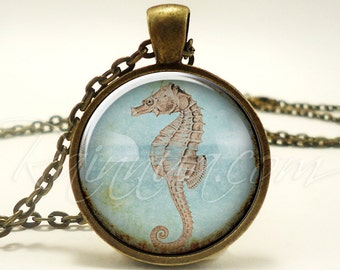 Seahorse Necklace, Ocean sea horse Jewelry, Nautical Beach Bum Pendant (1850B1IN)