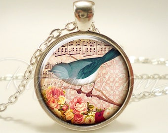 Bohemian Blue Bird Necklace, Vintage Inspired Pendant, Cute Gift Idea (1959S1IN)