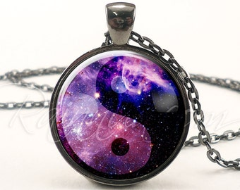 Nebula Yin Yang Necklace, Soft Grunge Galaxy Pendant, Indie Hipster Space Necklace (1996G1IN)