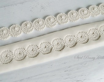 Silicone 2 part pearl beaded spiral circle border mold for fondant and gumpaste cake decorating