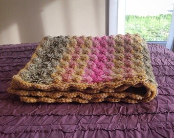 Double thick Strawberry Pink, Mustard Yellow, Sage and Olive Green Shell Crochet Baby Blanket,  Crib Size.