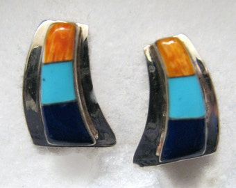 Vintage Vintage SOUTHWESTERN INLAY Earrings -- Sterling Silver with Turquoise, Spiny Oyster Shell and Lapis