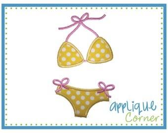 INSTANT DOWNLOAD Bikini Swimsuit Bathing Suit applique digital design for embroidery machine by Applique Corner