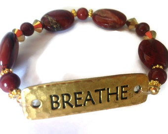 Breathe Bracelet, Just Breathe, Inspiring Bracelet, Uplifting Bracelet, Affirmation Jewelry, Custom Bracelet
