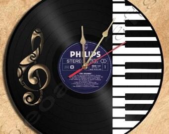 Wall Clock PianoTheme Vinyl Record Clock home decoration housewares Upcycled Gift Idea
