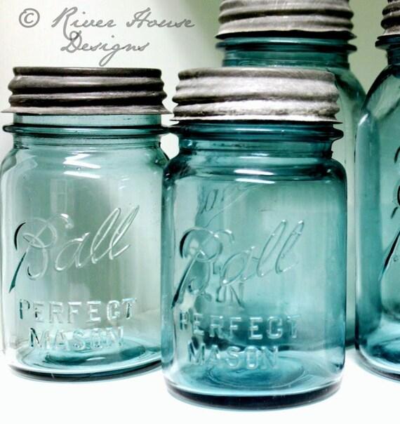 "Mason Jar, Antique Blue Ball Jar, Pint Size, ""Ball Perfect Mason"", Vintage Canning Jar, 1930s Ball Blue Canning Jar"