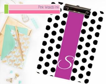Custom Clipboard, Monogrammed Clipboard, Personalized Clipboard, Polka Dots Clipboard, Custom Desk Accessories, Choose Colors