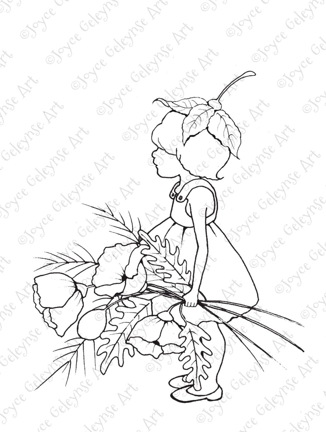 Digital Stamp Little Wood Sprite With Big Poppies Freehand