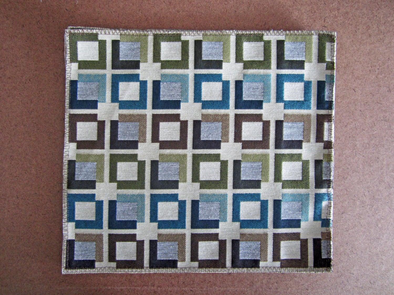 blue geometric placematssquare placemats 12 x12 table linens. Black Bedroom Furniture Sets. Home Design Ideas