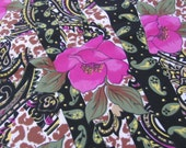 """Large Black Floral Poly Scarf 16"""" x 60"""" Long"""