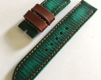 Handmade Vintage Style Green Leather Strap Band for Panerai or big watch With Pre V Buckle.