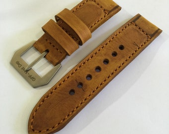 Handmade Vintage Style Leather Strap Band for Panerai or big watch With GPF-Mod Buckle.