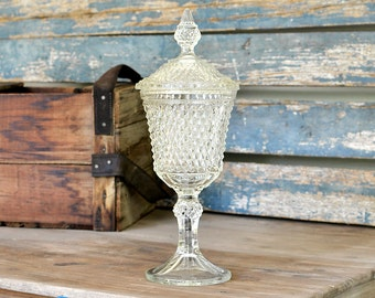 Pedestal Apothecary Style Lidded Compote Jar - Diamond Point Pattern by Indiana Glass Company - Vintage Home or Wedding Decor
