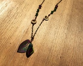 Spring Leaf handmade brass glass and crystal delicate necklace