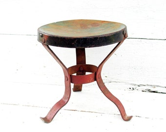 Vintage Metal Stool Industrial Look Farm Fresh Milking Stool