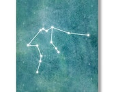Aquarius Constellation - Zodiac Sign printable art. Wall decor. Navy blue watercolor digital image. Instant digital download.