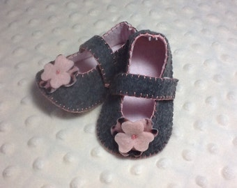 Grey and pink Mary Jane shoes