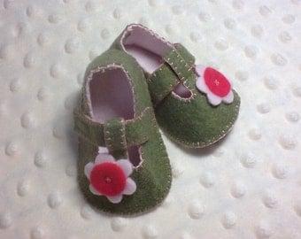 Little green t-strap shoes
