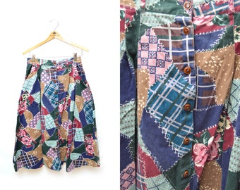 90s Patchwork Button Down Front Mid Length Peasant Skirt Womens 12