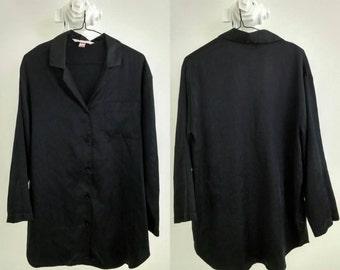Black Satin Sleep Shirt Nightie / Small