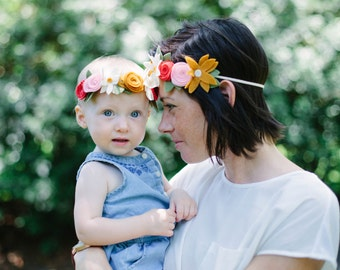 Matching Mommy/Daughter Boho Felt Flower Crowns/ Birthday Crown/ Wedding/ Photo Prop
