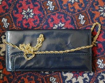 Vintage navy blue leather handbag / wallet