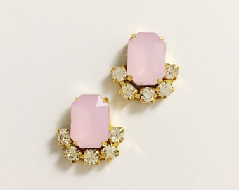 Pastel Pink Stud Earrings