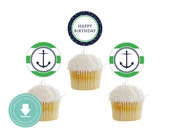 INSTANT DOWNLOAD Nautical Cupcake Toppers (Green Anchor Party, Nautical Baby Shower, Printable Party Circles, Boys Nautical Party)