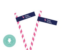 INSTANT DOWNLOAD Flamingo Straw Flags (Flamingo Birthday, Pink Flamingo Party, Printable Straw Flags, Flamingo Decorations, Navy)