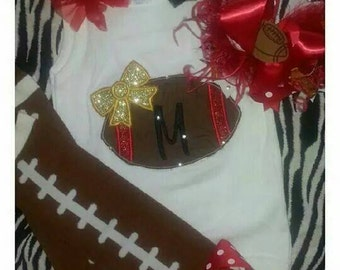 Personalized football ruffled tank top. Includes football leg warmers and matching bow.