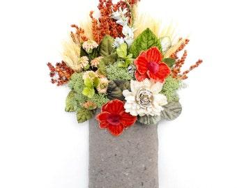 Modern Flower Arrangement, Rustic Fall Home Decor, Gift for Her, Floral Arrangement, Wall Pocket,  Keepsake Flowers, Modern Wall Decor,