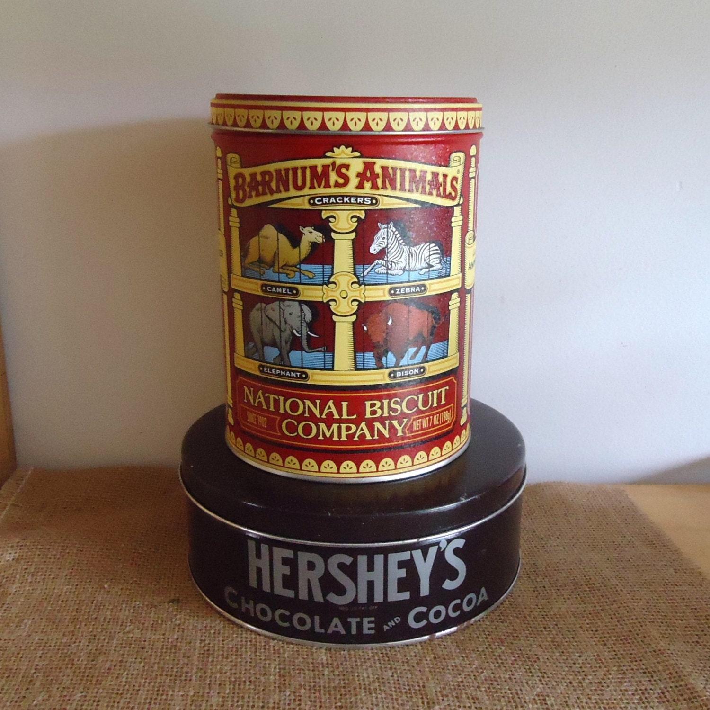 Primitive Kitchen Canisters Vintage Tin Collectors Tins Animal Crackers Hersheys