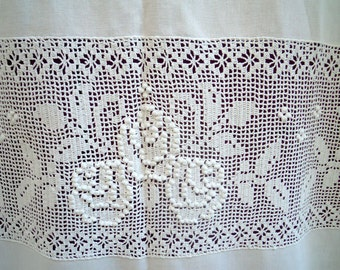 Handmade curtain with atrante and lace - 20416