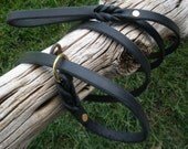 "Black Latigo Leather SLIP LEASH and COLLAR combo  1/2"" X 78"" total length including collar... solid brass ring and rivets"