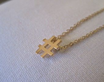 Gold Hashtag Necklace - Solid Gold Hashtag Necklace - Hashtag Necklace