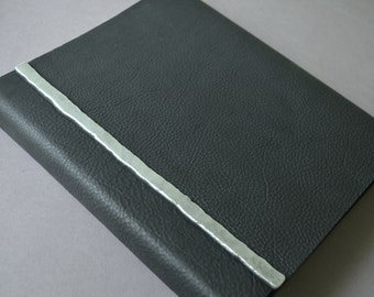 Elegant Black Leather Notebook Planner Large Journal with Silver Custom Order (424B)