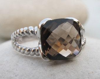 Smoky Quartz Ring- Quartz Ring- Silver Ring- Silver Ring- Stone Ring- Silver Stone Ring- Gemstone Ring- Topaz Ring- Smoky Topaz Ring- Ring