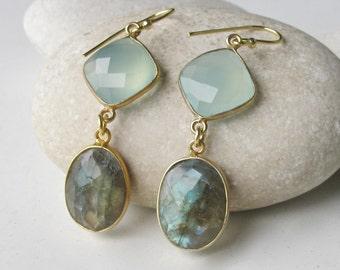 Labradorite Earrings- 18k Gold Vermeil- Gemstone Earrings- Gold Labradorite Earrings- Blue Chalcedony Earrings
