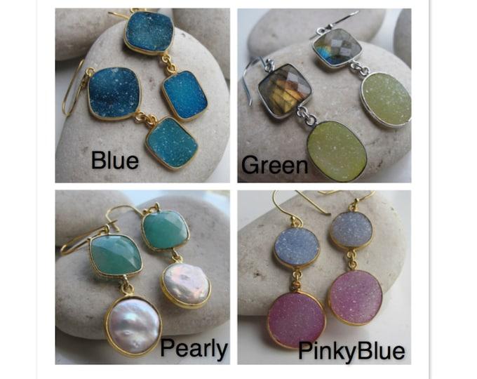 Blue Earring- Gemstone Earring- Blue Gemstone Earring- Statement Earring- Druzy Earring- Silver Earring- Blue Stone Earring- Earring