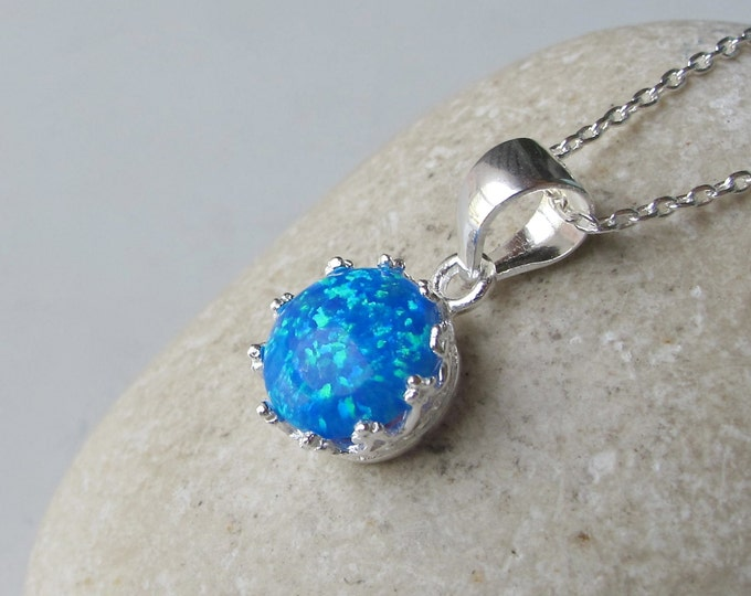 Blue Opal Round Necklace- Blue Gemstone Sterling Silver Necklace- Jewelry Gifts for Her- October Birthstone Blue Necklace-