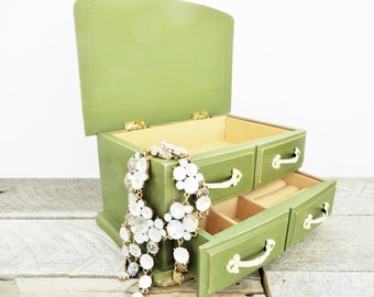 Painted Jewelry Box - Olive Green - Handpainted Upcycled
