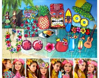 Hawaii Summer Luau Aloha photo booth props, perfect for your tropical island bash, Hawaiian surf party on the beach or Tiki Luau