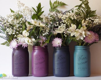 Gift for Her Hostess Gift Home Decor Painted Mason Jars Vase Centerpiece Purple Blue