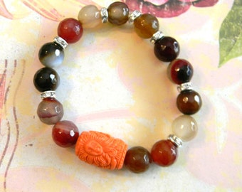 Mermaid/Merlion Stretch Bracelet with Earthtone Faceted Beads